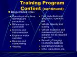 training program content continued