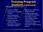 training program content continued44