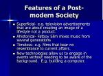 features of a post modern society