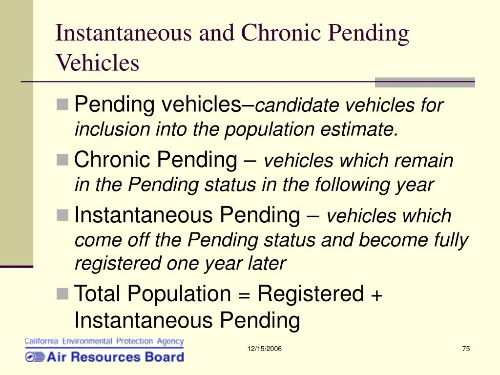 Instantaneous and Chronic Pending Vehicles