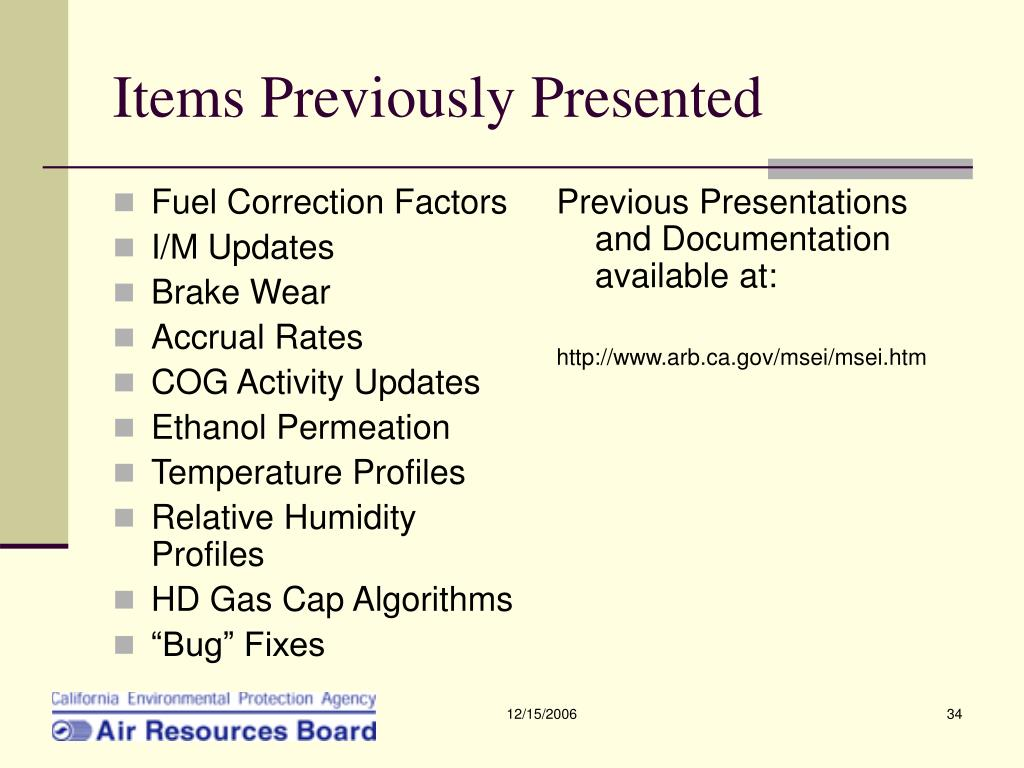 Fuel Correction Factors