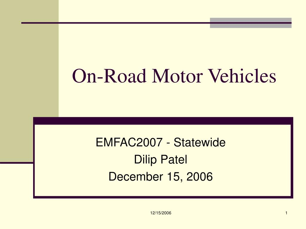 on road motor vehicles l.