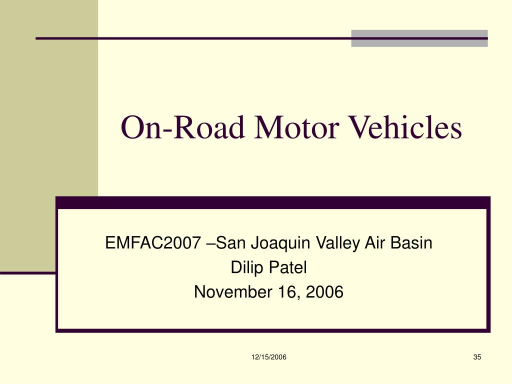 On-Road Motor Vehicles