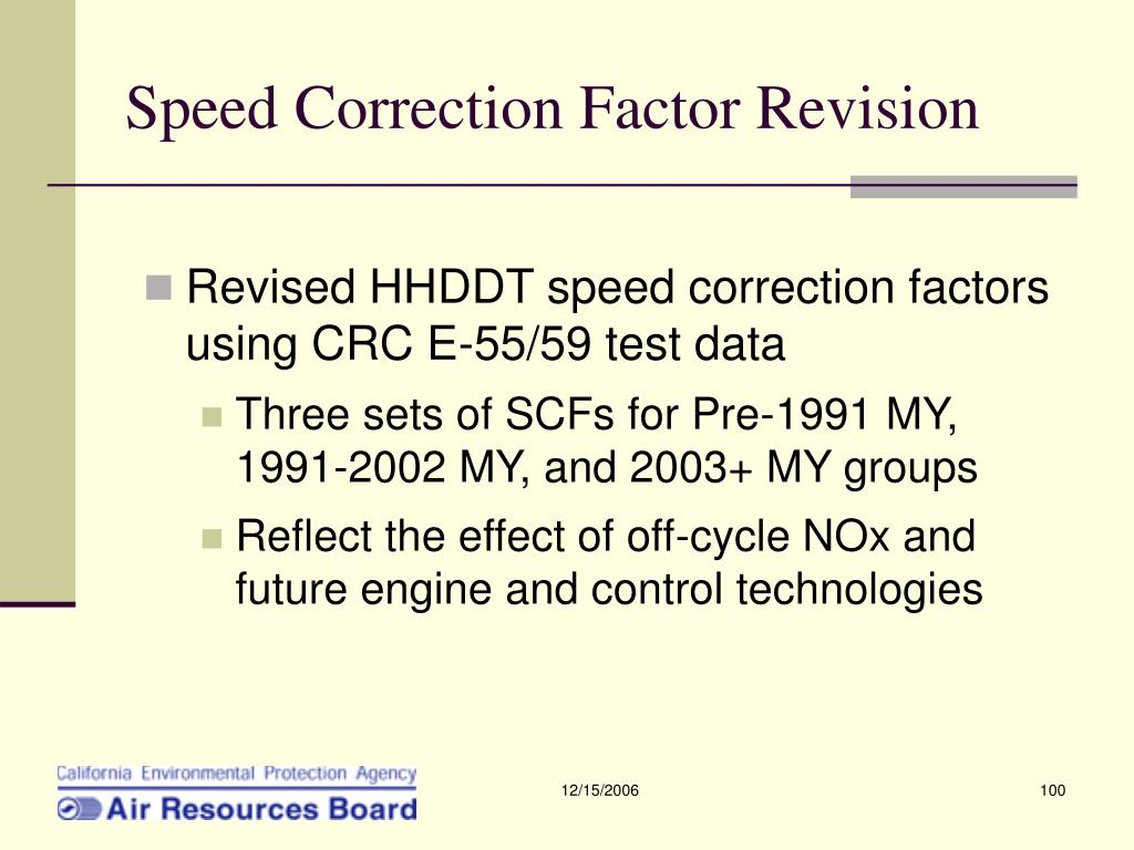 Speed Correction Factor Revision