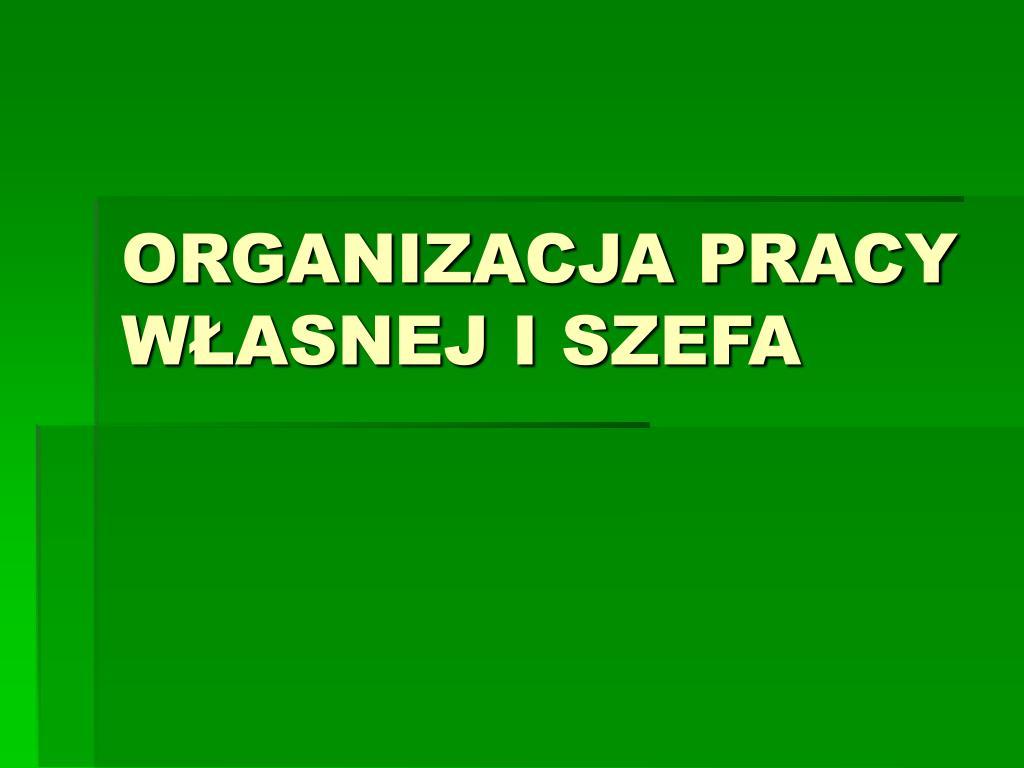 organizacja pracy w asnej i szefa l.