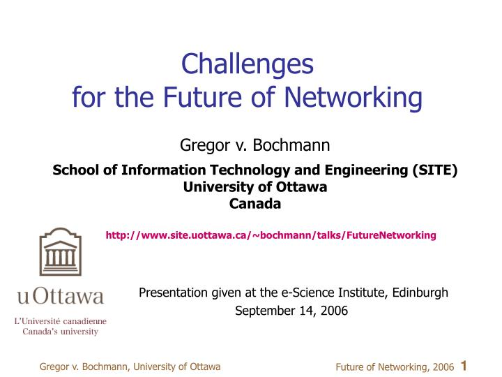 challenges for the future of networking n.