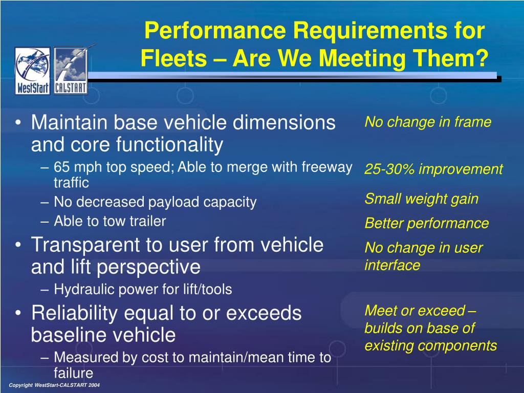 Performance Requirements for Fleets – Are We Meeting Them?
