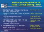 performance requirements for fleets are we meeting them