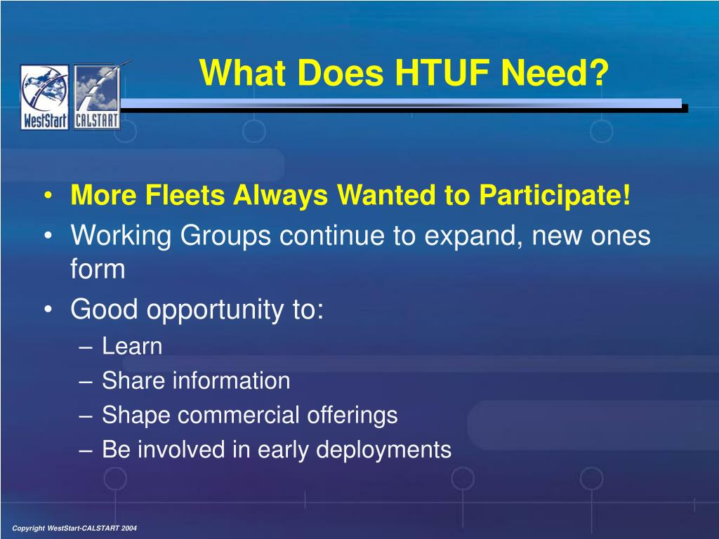 What Does HTUF Need?