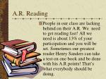 a r reading