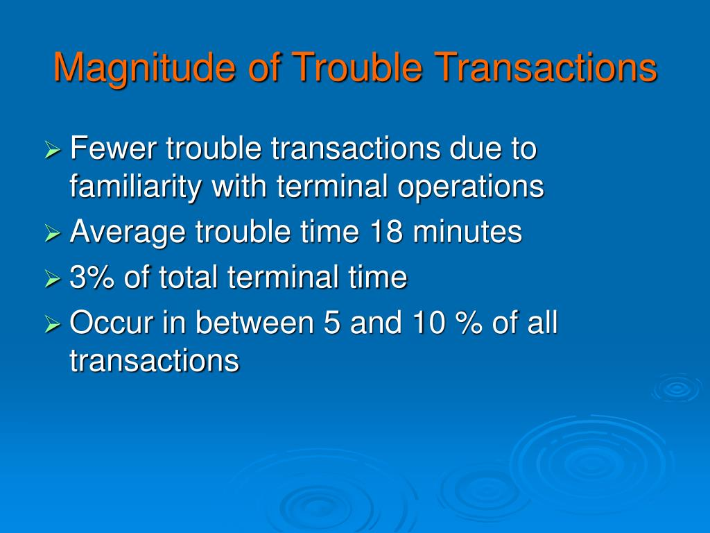 Magnitude of Trouble Transactions