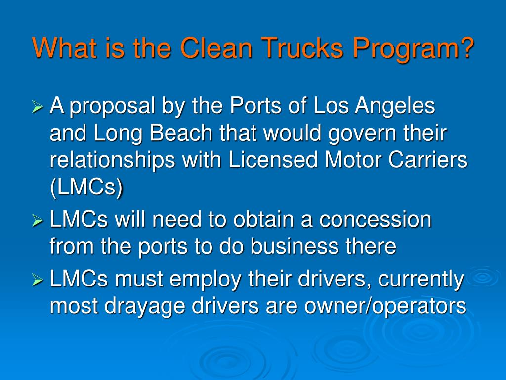What is the Clean Trucks Program?
