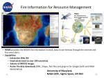 fire information for resource management