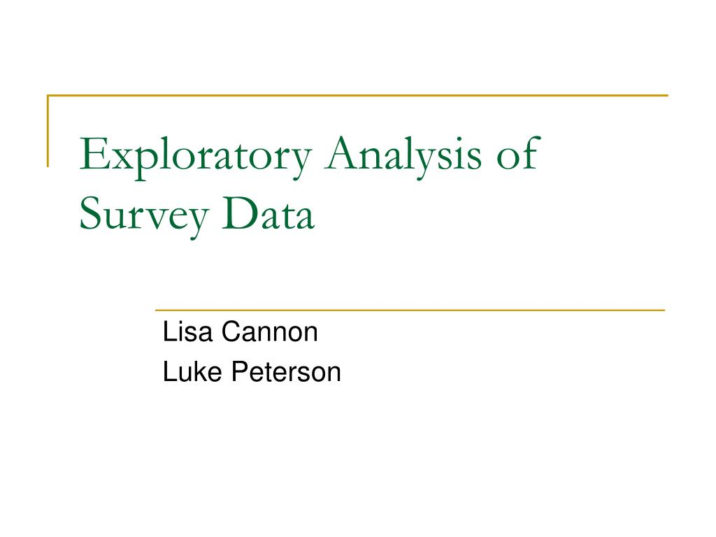 exploratory analysis of survey data l.