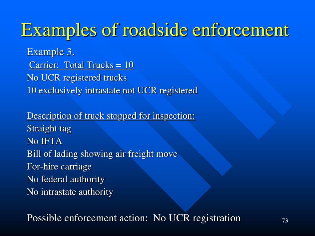 Examples of roadside enforcement