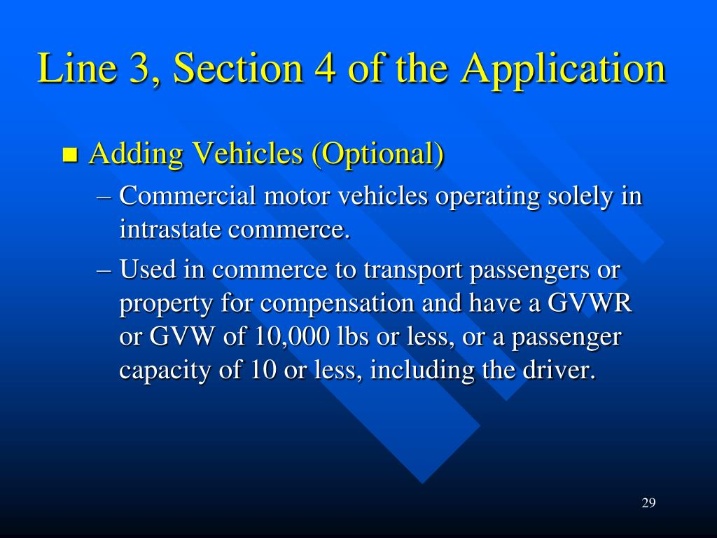 Line 3, Section 4 of the Application