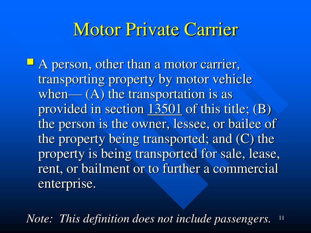 Motor Private Carrier