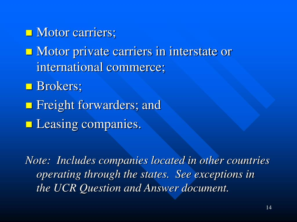 Motor carriers;