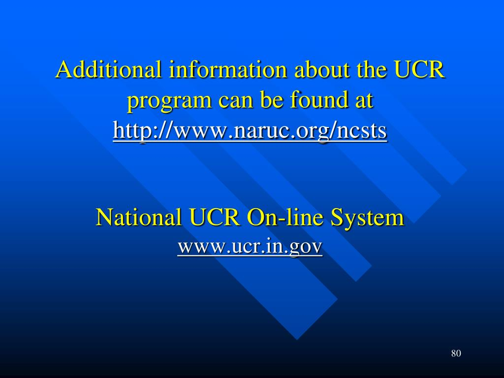 Additional information about the UCR program can be found at