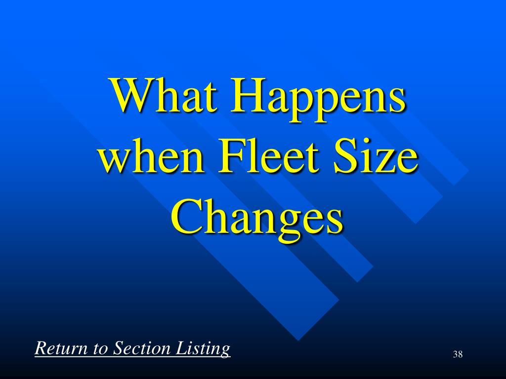 What Happens when Fleet Size  Changes