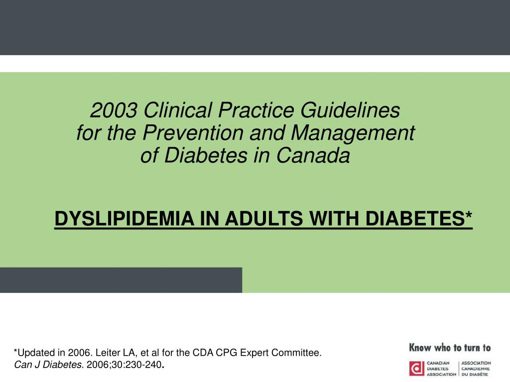 dyslipidemia in adults with diabetes l.