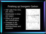 finishing up inorganic carbon