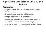 agriculture extension in 2012 13 and beyond