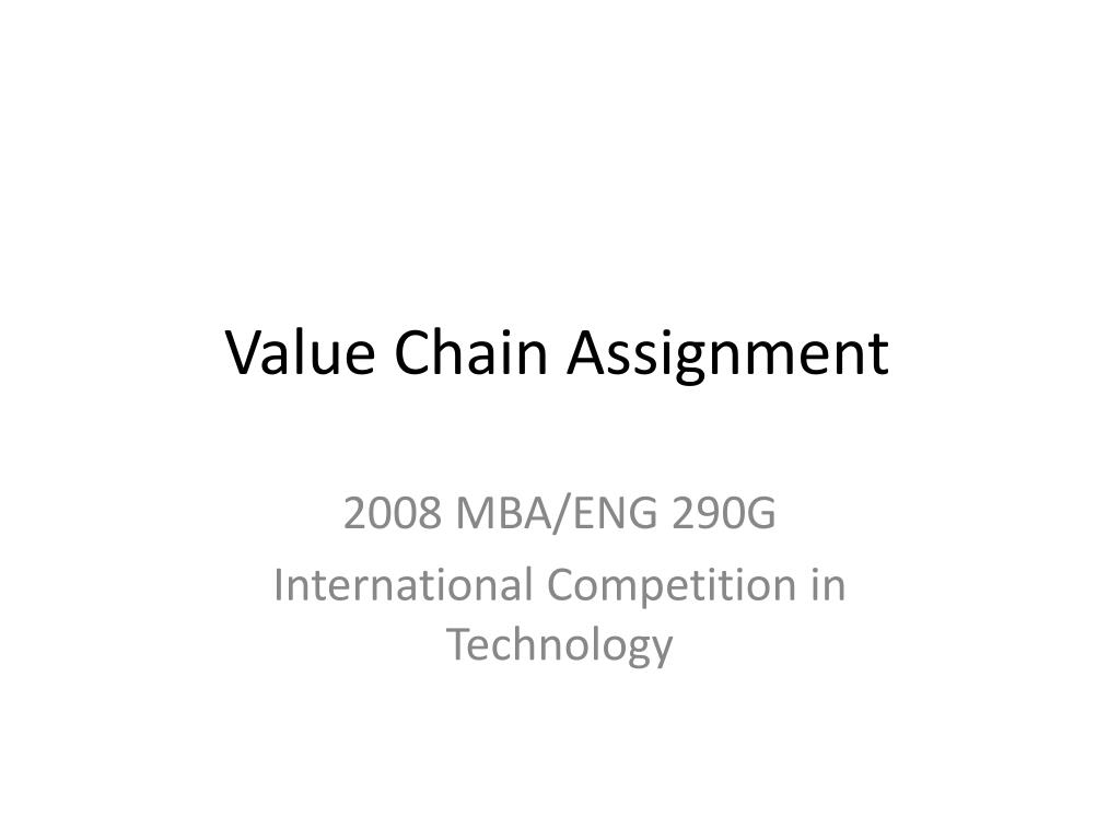value chain assignment l.