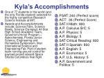 kyla s accomplishments