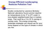 energy efficient landscaping reduces pollution too