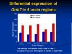 differential expression of grm7 in 4 brain regions
