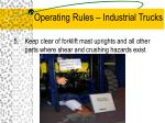 operating rules industrial trucks