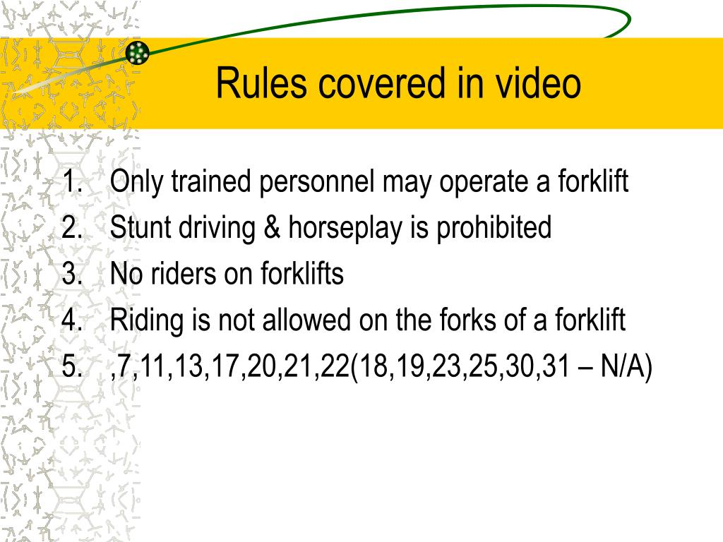 Rules covered in video