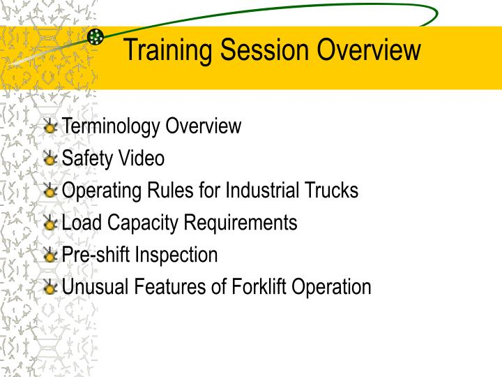 Training session overview