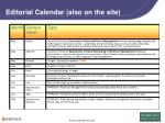 editorial calendar also on the site