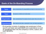 goals of the on boarding process