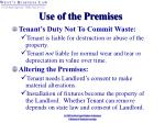 use of the premises