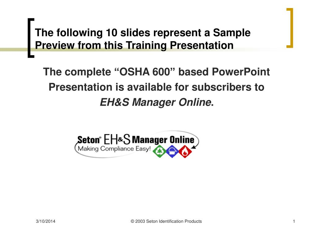 the following 10 slides represent a sample preview from this training presentation l.