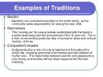 examples of traditions
