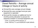 diesel retrofits average annual mileage or hours of activity