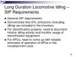 long duration locomotive idling sip requirements