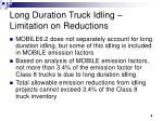 long duration truck idling limitation on reductions