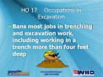 ho 17 occupations in excavation