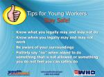 tips for young workers stay safe