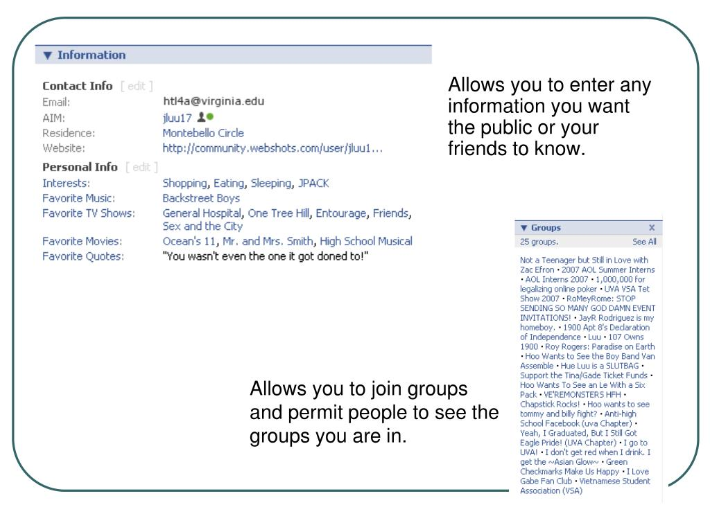 Allows you to enter any information you want the public or your friends to know.