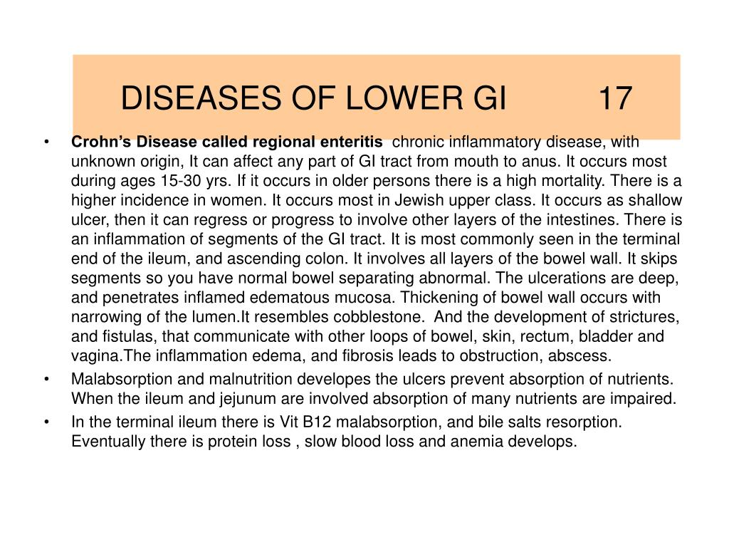 DISEASES OF LOWER GI          17