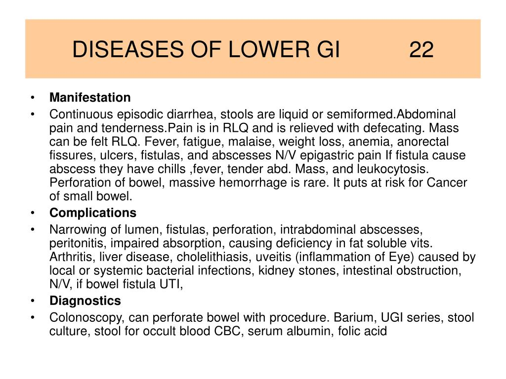 DISEASES OF LOWER GI           22