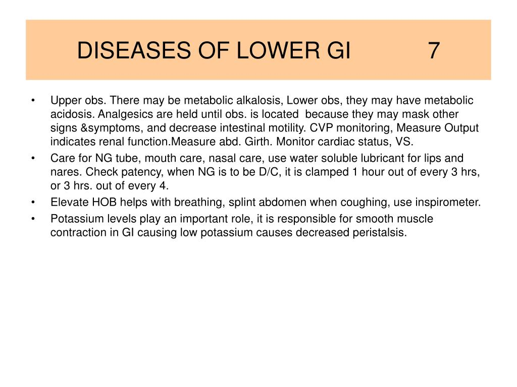 DISEASES OF LOWER GI            7