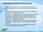 observations incident reporting systems
