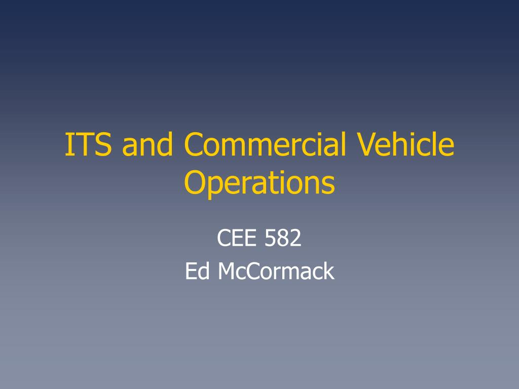 its and commercial vehicle operations l.